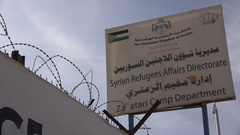Registration office for Syrian refugees in the Zaatari camp in Jordan Stock Footage