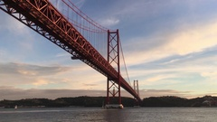 Famous Bridge In Lisbon During Magic Hour Stock Footage