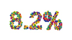 Funny 8.2 percent sign on white Stock Footage