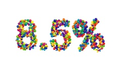 Sweets forming 8.5% discount sign on white Stock Footage