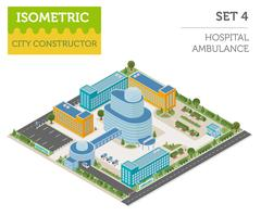 Flat 3d isometric clinic complex and city map constructor elements such as .. Stock Illustration