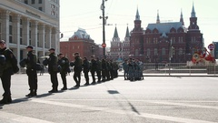 Soldiers and  police during peaceful  International Workers' Day demonstration. Stock Footage