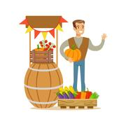 Man With Stand Of Fresh Vegetables, Farmer Working At The Farm And Selling On Stock Illustration