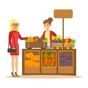 Woman Buying Fresh Vegetables From Farmer Working At The Farm And Selling On Stock Illustration