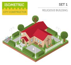 Religious architecture. Flat 3d isometric church and city map creator eleme.. Stock Illustration