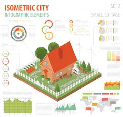 Flat 3d isometric house and city map constructor elements such as building,.. Stock Illustration