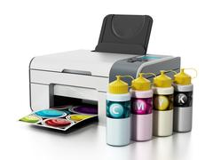 CMYK ink filling bottles and inkjet printer. 3D illustration Stock Illustration