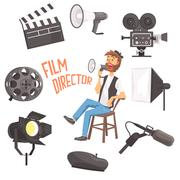 Film Director Sitting With Megaphone Controlling Movie Shooting Process Stock Illustration