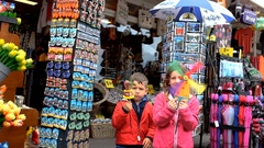 Children bought a souvenir of the Netherlands Stock Footage
