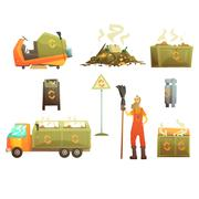 Waste Recycling And Disposal Related Object Around Garbage Collector Man Set Of Stock Illustration