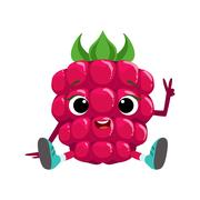Big Eyed Cute Girly Raspberry Character Sitting, Emoji Sticker With Baby Berry Stock Illustration
