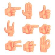 Conceptual Popular Hand Gestures Set Of Realistic Isolated Icons With Human Palm Stock Illustration
