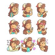 Girl In Cap, Choker And Blue Top Collection Of Hand Drawn Emoticon Cool Outlined Stock Illustration