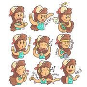 Girl In Cap, Choker And Blue Top Collection Of Hand Drawn Different Emotions Stock Illustration