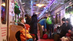 New Year's festive  train in the Moscow Metro. Stock Footage