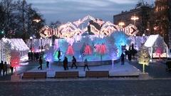 Christmas market on the Pushkinskaya Square. Stock Footage