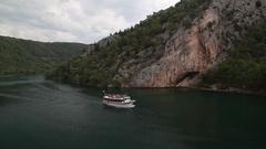 Boat passing at Krka National Park in Croatia Stock Footage