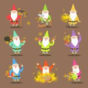 Classic Garden Gnomes In Colorful Outfits Set Of Cartoon Characters Different Stock Illustration