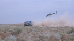 Kazakhstan, July, 2016 «Silk Way» Rally. Truck races on the sand Stock Footage
