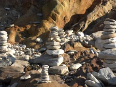 Lutz. Cairn on the beach. Stock Footage