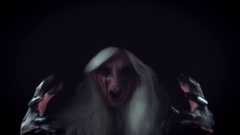 4K Horror Witch with Bloody Tears Shouting and Gesturing with Hands Stock Footage
