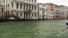 VENICE, ITALY - SEPT 15, 2016: View of Ca'Rezzonico station and a gondola near Stock Footage