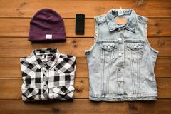 Casual clothes and smartphone Stock Photos