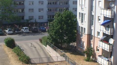 The view from the window the people move down the road Stock Footage