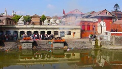 Asian town river bank Stock Footage