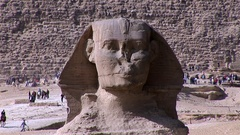 The Great Sphinx and The Great Pyramid of Khafre in Giza in zoom out Stock Footage