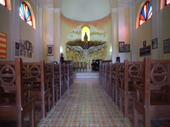 Interior of local small catholic chapel in cuban city Stock Footage