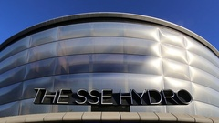 Panning down exterior of The SSE Hydro Glasgow, Scotland Stock Footage