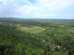 Panoramic view of the tropical valley with hills at summer sunny day Stock Footage