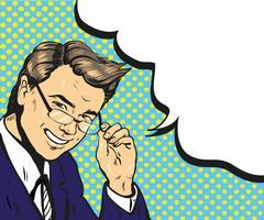 Man in glasses pop art speech bubble vector illustration Stock Illustration