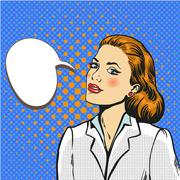 Business woman pop art comic vector Stock Illustration