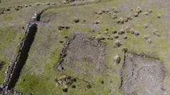 Aerial shot looking down to the El Salitre Archaeological Site Stock Footage