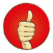 Hand with big finger up pop art comics Stock Illustration
