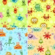 Set of Seamless Pattern with Good and Bad Bacteria Stock Illustration