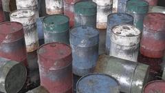 Rusty metal barrel Stock Footage