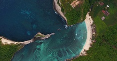 Aerial shoot of the coast of the island of Nusa Penida Stock Footage
