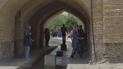 Isfahan girl under Khaju Bridge Stock Footage