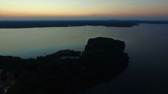 Lake Norman NC flyover at sunset Stock Footage