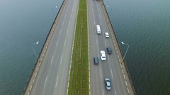 Aerial survey of a road bridge Stock Footage