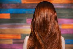 Young beautiful red-haired girl standing back to the camera Stock Photos