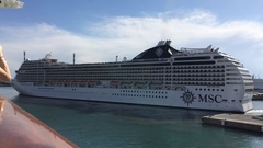 MSC Cruise departing from Genova Stock Footage