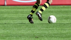 Soccer Player in Action Stock Footage