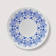 Realistic Plate Vector. Closeup Porcelain Tableware Isolated. Ceramic Kitchen Stock Illustration
