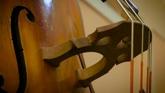 Contrabass strings with bow Stock Footage