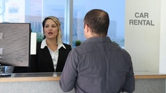 Car rental front desk Stock Footage