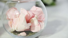 White light room with bouquets of roses, standing on the floor. Stock Footage